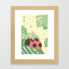 Girl On Ladybug Framed Art Print