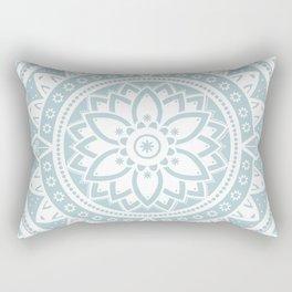 Duck Egg Blue & White Patterned Flower Mandala Rectangular Pillow