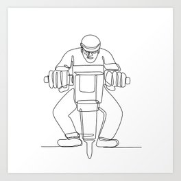 Construction Worker Jackhammer Continuous Line Art Print