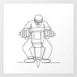 Construction Worker Jackhammer Continuous Line Art Print