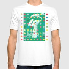 Easter Island Head With Dots Mens Fitted Tee MEDIUM White