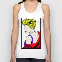 lichtenstein Tank Tops featuring Robyn - Roy Lichtenstein Inspired Portrait 2 by Alli Vanes