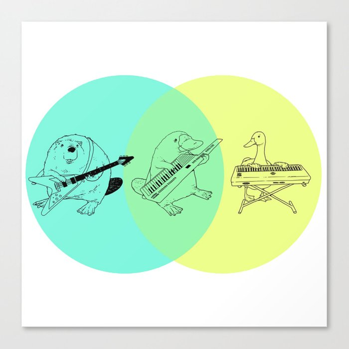 Keytar Platypus Venn Diagram Canvas Print By Jamesmichals Society6