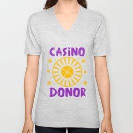 Casino Donor Gambling Poker Player Gift Unisex V-Neck