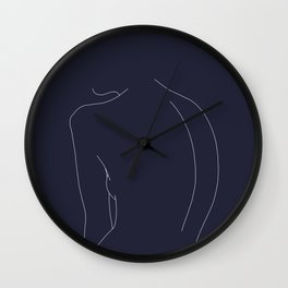 Woman's back line drawing - Alex Blue Wall Clock