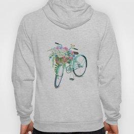 Vintage Aquamarine Bicycle with Flower Basket Hoody