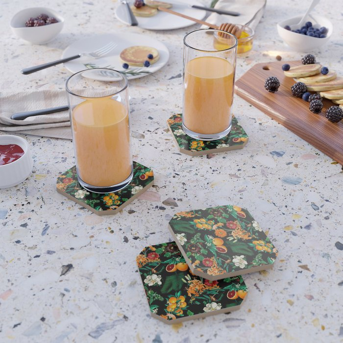 Fruit and Floral Pattern Coaster