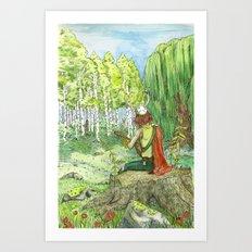 Druid Playing Lute in an Open Meadow Art Print
