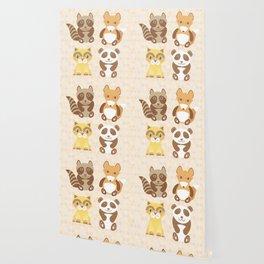 Funny cute raccoon, panda, fox, cat on dot background. Wallpaper