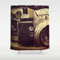 cameras Shower Curtains featuring Vintage cameras by BellaVitaArt