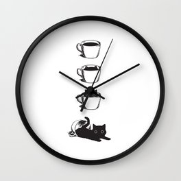Morning Coffee, Cat in A Cup Wall Clock