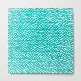Turquoise Herringbone Lines Metal Print