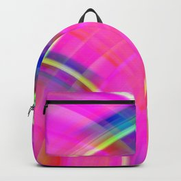Vintage curved ellipse with a crisp crimson accent and all the colors of the rainbow. Backpack