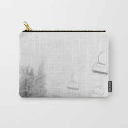 Chairlift Abyss // Black and White Chair Lift Ride to the Top Colorado Mountain Artwork Art Print Carry-All Pouch