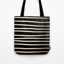 Simply Drawn Stripes White Gold Sands on Midnight Black Tote Bag
