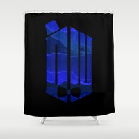fez Shower Curtains featuring Doctor Blue by foreverwars