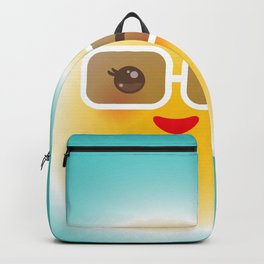 Kawaii funny sun with sunglasses pink cheeks and wink at eyes Backpack