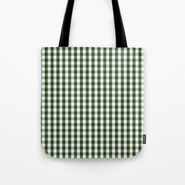 Dark Forest Green and White Gingham Check Tote Bag
