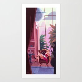 Afternoon with a cat Art Print