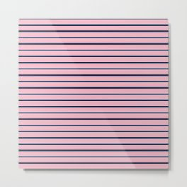 Pink and Navy Blue Horizontal Stripes Metal Print