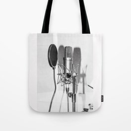 Microphone black and white Tote Bag