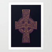celtic Art Prints featuring Celtic Cross by pakowacz