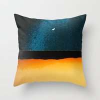 moon phase Throw Pillows featuring New Moon - Phase II by Marina Kanavaki