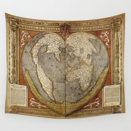 Heart-shaped projection map Wall Tapestry