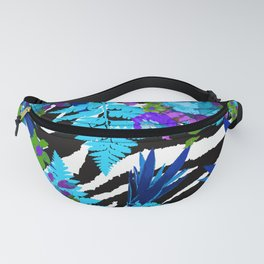ZEBRA PALMS AND FERNS AND ROSES Fanny Pack