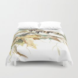 Sparrows and Fall Tree Duvet Cover