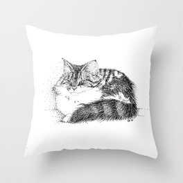Maine Coon Cat - Pen and Ink Throw Pillow