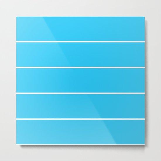 Aqua Teal- Maritime Aqua Teal Stripes Pattern 1 - Mix & Match Metal Print