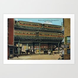 Bowery NYC Double Decker Elevated Train Art Print