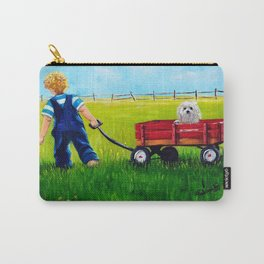 """Brian and his Red wagon"",Boys room Fine Art print,  Whimsical Boys Art,Boy and dog wall Art Carry-All Pouch"