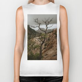 Colorful Mountaintop View with Withered Tree - Big Bend Biker Tank