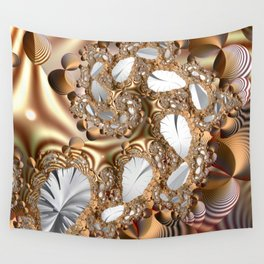 Silver leaves on golden glow -- A fractal landscape Wall Tapestry