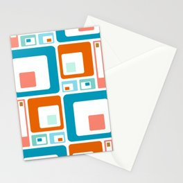 Retro Mid Century Modern Colorful Squares Stationery Cards