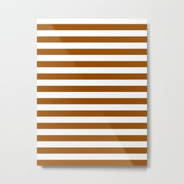 Narrow Horizontal Stripes - White and Brown Metal Print