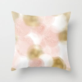 Rose Gold and Gold Blush Throw Pillow