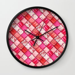 Faux Patchwork Quilting - Pink and Red Wall Clock