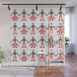 Romanian Hora people cross-stitch pattern white Wall Mural