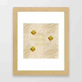 Ask believe receive beige tan marble and gold squares abstract typography design Framed Art Print