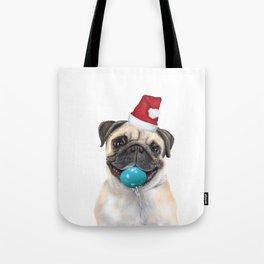 pug with christmas hat Tote Bag