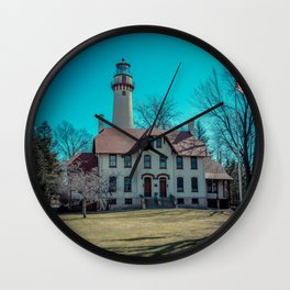 Evanston Illinois Gross Point Lighthouse Lake Michigan Light Station Wall Clock