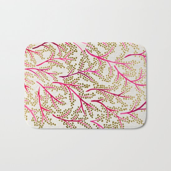 Pink & Gold Branches Bath Mat