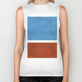 Antique Pastel Blue Brown Mid Century Modern Abstract Minimalist Rothko Color Field Squares Biker Tank