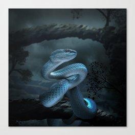 Blue Viper Snake Digital Art Canvas Print