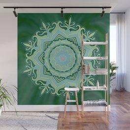 Green Swirl Mandala Wall Mural