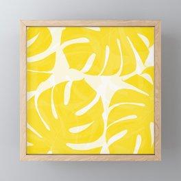 Mellow Yellow Monstera Leaves White Background #decor #society6 #buyart Framed Mini Art Print