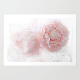 Shabby Chic Pink Pastel Baby Pink Peonies Art Print